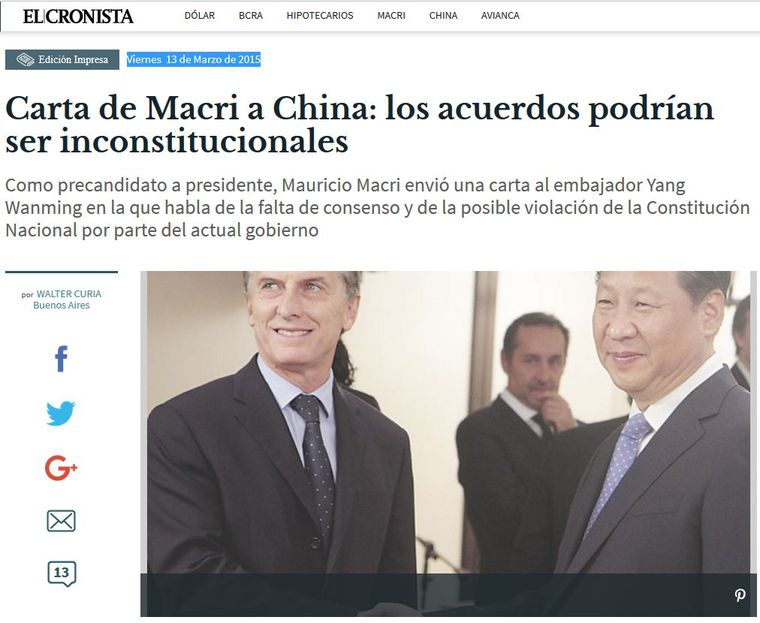 Macri trae pesada herencia K de China