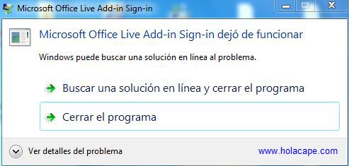 Solución al conflicto: Live-Add-In entre Office y Windows 7