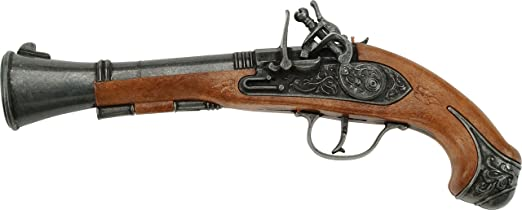 Trabuco is a weapon similar to a Blunderbuss thus the name Villanueva del Trabuco